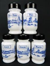 Vintage Milk Glass Blue White Spice Jars French German Dutch Belgium Shakers