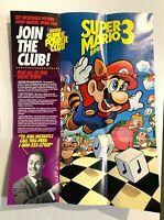 """RARE! Super Mario Bros. 3 Nintendo Power Club 15"""" Promo Poster GP-NES-USA-2"""