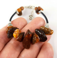 7,3-8,1 IN Vintage Elegant Genuine Baltic Amber Mixed Bracelet Tibet Silver 0018