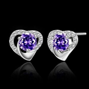 New White Gold Plated Silver Amethyst Purple CZ & Crystal Heart Stud Earrings