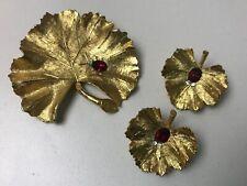 Vintage BSK Costume Jewelry Set Brushed Gold Leaf w/ Red Rhinestone Ladybug