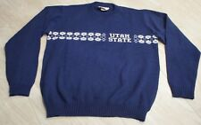 RARE VTG H Wolf & Sons Utah State Aggies Blue Argyle Knit Sweater Men's size XL