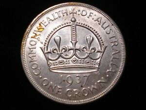Australian 1937 Crown Sterling Silver Coin High Grade Luster Scarce