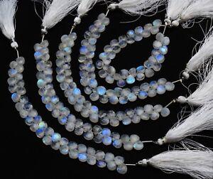 "Natural Gem Blue Fire Moonstone 7MM Approx Faceted Heart Shape Briolette Beads6"""