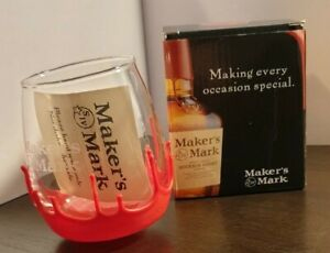 MAKERS MARK GLASS NEW IN GIFT BOX. WAXED BOTTOM GLASS WITH INSTRUCTIONS