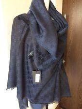 Authentic GUCCI women scarf shawl GG Guccissima 140x140 cm wool / silk blue NEW