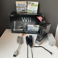 Nintendo RVLSKRP2 Wii Console with Wii Sports Wii Resort-Black TESTED