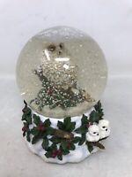 VTG THE SAN FRANCISCO MUSIC BOX COMPANY Snowy White Owl Snow Globe Silver Bells