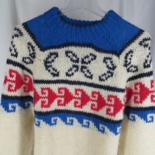 Vintage L Crewneck Sweater Pullover Greek Fishing 100% Wool Boho Red Blue Nordic