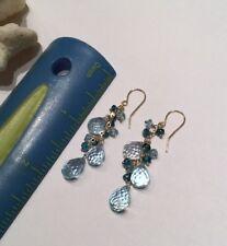 14k solid YG Blue Apatite Topaz Cluster Waterfall Briolette earrings