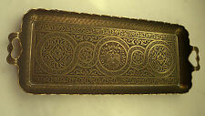 TURKISH ZAMAK TRAY VINTAGE, ANTIQUE Dark BRASS COLOR, RECTANGLE,Ottoman Figures