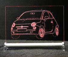 Fiat 500 Retro-Desig als AutoGravur auf LED Schild 2008