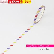 SLIM 5mm Japanese Washi Tape RED YELLOW BLUE TWILL Hair Salon Precise Decoration