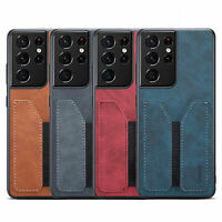 Shockproof Flexible Card Slot Leather Back Case Cover For Samsung Galaxy Phone