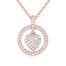 Rose Gold Plated Clear CZ Rhinestones Love Heart Chain Necklace Pendant Jewelry