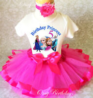 Frozen Elsa Anna Princess hot pink Girl 5th Fifth Birthday Tutu Outfit Shirt Set