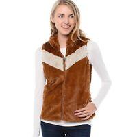 Patagonia Women's Pelage High Pile Vest Size Small Chevron Stripe Brown