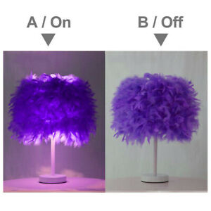 Purple Feather Table Lamp Shades Lampshade Elegant Bedside Desk Night Light Deco