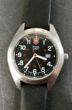 Unisex Swiss Army 34mm Date Watch Black Leather Band New Battery