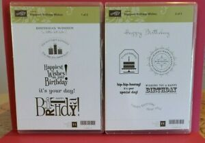 """Stampin'Up Stamp Set Rubber Mount Hostess """"Happiest Birthday Wishes""""  #122617"""