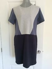M&S Size 14 Blue/Grey Knee Length Dress With Pockets