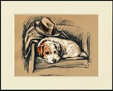 JACK RUSSELL WIRE FOX TERRIER WITH MASTERS HAT AND COAT PRINT READY MOUNTED
