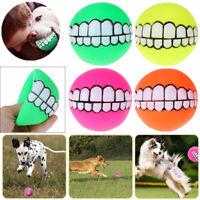 Puppy Pet Dog Dental Teething Healthy Teeth Chew Squeaker Training Play Ball Toy