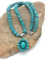 """Sale Navajo Sterling Silver Blue Turquoise Necklace Cluster Pendant 19"""" 4075"""