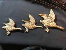 More details for vintage brass wall hanging flying geese/ducks