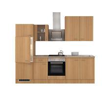 Küchenblock mit E Geräten Küchenzeile Einbauküche Elektrogeräte 270 cm buche