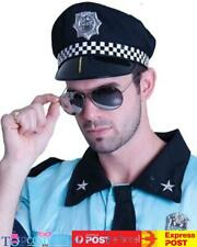 As247 Police Hat With Check Fabric Cops Costume Accessory