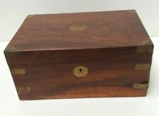 Large Wooden & Brass Writing Box Glass Ink Wells Inside Preowned (800DS)
