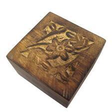 Indio Tallado a Mano 7cm X 7cm Caja de la baratija de madera al azar Diseños Mango