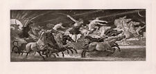 COOL 1800s WALTER CRANE SIGNED Antique Print THE CHARIOTS OF THE HOUR Framed COA
