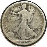 1916 50C Walking Liberty Half Dollar, SEMI-KEY DATE! (X59366)