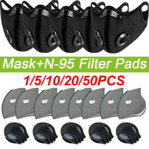 Washable Cycling Face Shield With Valve & 3/4/5 Layers Carbon Purify Filter Pads