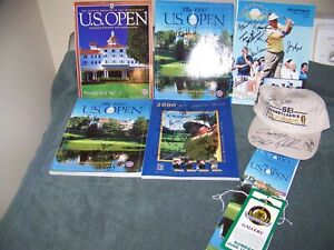 Lot of PGA Players Signed Items (Payne Stewart, etc.) Magazines, Tickets, Hat