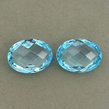 11.85 ct Natural Blue Topaz Oval Fine Cut 10x14 mm Loose Gemstone Pair LSY1074