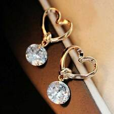Rhodium Gold Plated Hollow Love Heart Cubic Zir Earrings Party Wedding Xmas Gift