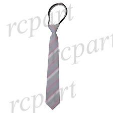 New Kids Boys Zipper Adjustable Pre-tied Necktie silver pink Stripes formal