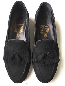 JOHN LOBB St. James Bespoke Black Suede Tassel Loafer UK 10 (US 11) $6000