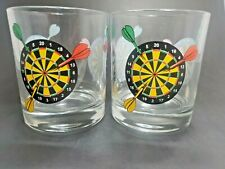 Dartboard Lowball Rock Glasses Barware Cocktail Drinking Heavyweight - Set 2