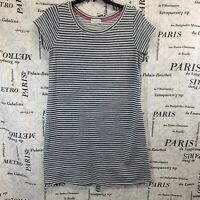 Thyme & Honey Womens Dress Blue White Striped Short Sleeve Textured Size L