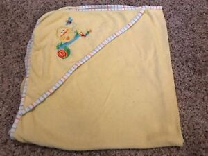 Babies R Us Baby Yellow Embroidered Duck Snail Butterfly Hooded Towel