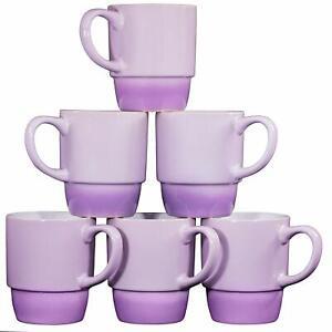 Bruntmor Ceramic Coffee Mugs Stacking Tea Cups Set of 6 Gradient Purple 18 Ounce