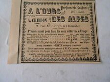 Parfumerie d'Uriage A l'Ours des Alpes A.Chardon Grenoble Pub Avert 1909