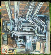 PIPE STUDIO by Ruth Freeman ACRYLIC ON UNSTRETCHED CANVAS 45  X 48