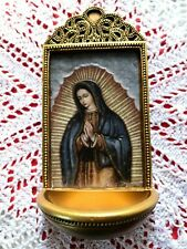 """OUR LADY of GUADA""LUPE   Holy Water Font, 6""H, X 3""W,  Marco S. Gift box  *NEW*"