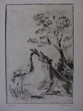 WALTHER KLEMM ´FABEL VOM WOLF UND KRANICH; REINEKE FUCHS´ RADIERUNG (!), ~1925