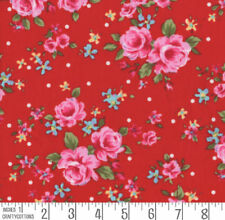 Telas y tejidos florales color principal rojo 100% algodón para costura y mercería